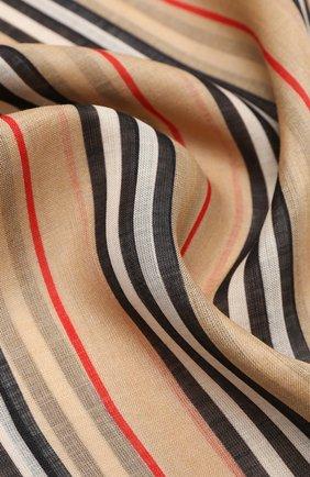 Мужские шарф из шерсти и шелка BURBERRY бежевого цвета, арт. 8031144 | Фото 2