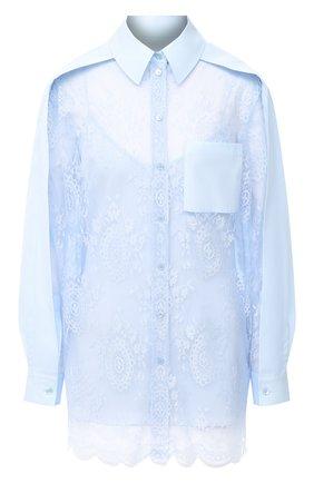 Женская шелковая рубашка BURBERRY голубого цвета, арт. 8031466 | Фото 1