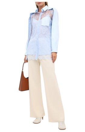 Женская шелковая рубашка BURBERRY голубого цвета, арт. 8031466 | Фото 2