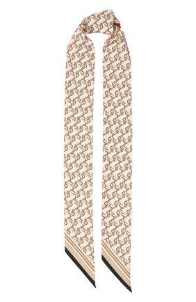 Мужские шелковый шарф BURBERRY бежевого цвета, арт. 8032255 | Фото 1