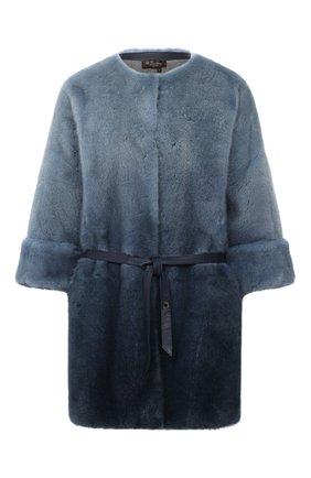 Женская шуба из меха норки LORO PIANA синего цвета, арт. FAG4330 | Фото 1