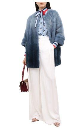 Женская шуба из меха норки LORO PIANA синего цвета, арт. FAG4330 | Фото 2