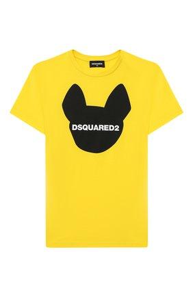 Детская хлопковая футболка DSQUARED2 желтого цвета, арт. DQ048Z-D00XK   Фото 1