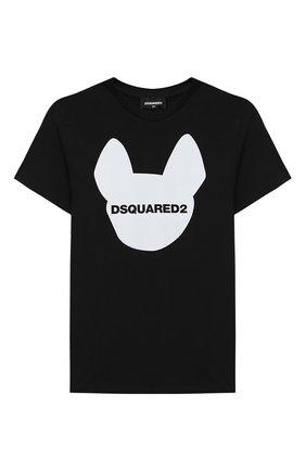 Детская хлопковая футболка DSQUARED2 черного цвета, арт. DQ048Z-D00XK   Фото 1