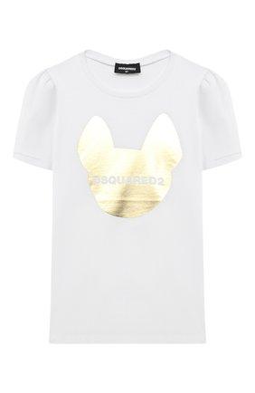 Детская хлопковая футболка DSQUARED2 белого цвета, арт. DQ04BR-D001G | Фото 1