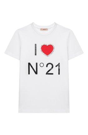 Детская хлопковая футболка N21 белого цвета, арт. N214E6/N0080/N21T58F | Фото 1