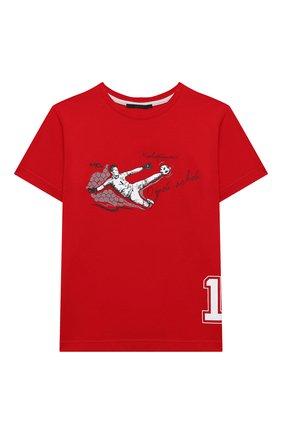 Детская хлопковая футболка MAKODAY красного цвета, арт. MA20T020/CoLy05 | Фото 1