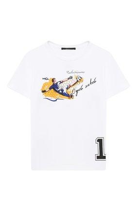Детская хлопковая футболка MAKODAY белого цвета, арт. MA20T000/CoLy05 | Фото 1