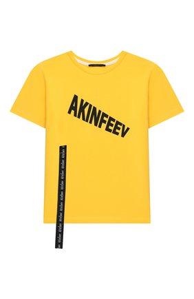 Детская хлопковая футболка MAKODAY желтого цвета, арт. MA20T007/CoLy05 | Фото 1