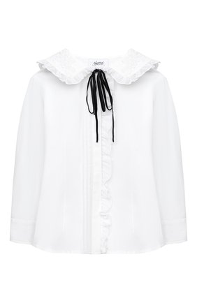 Детское хлопковая блузка ALETTA белого цвета, арт. AC000496ML/9A-16A | Фото 1