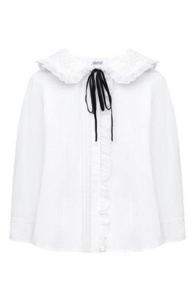 Детское хлопковая блузка ALETTA белого цвета, арт. AC000496ML/4A-8A | Фото 1
