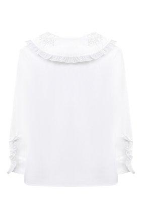 Детское хлопковая блузка ALETTA белого цвета, арт. AC000496ML/4A-8A | Фото 2
