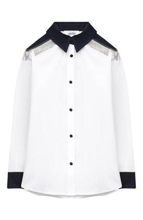 Детское хлопковая блузка ALETTA белого цвета, арт. AC000499ML/4A-8A | Фото 1