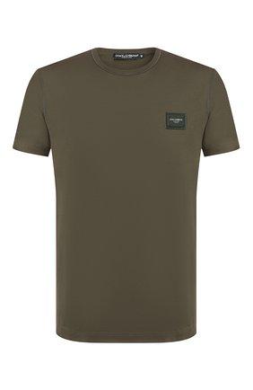 Мужская хлопковая футболка DOLCE & GABBANA хаки цвета, арт. G8KJ9T/FU7EQ | Фото 1