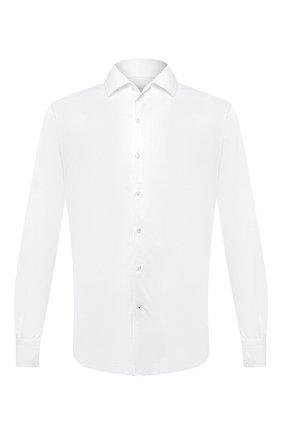 Мужская хлопковая рубашка LORO PIANA белого цвета, арт. FAL0383 | Фото 1 (Материал внешний: Хлопок; Случай: Повседневный; Воротник: Кент; Рукава: Длинные; Стили: Кэжуэл; Длина (для топов): Удлиненные; Принт: Однотонные; Манжеты: На пуговицах; Мужское Кросс-КТ: Рубашка-одежда)