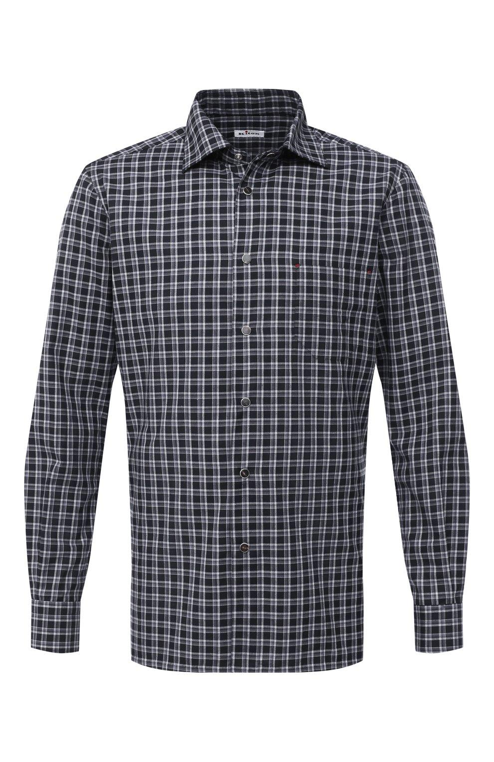Мужская хлопковая рубашка KITON серого цвета, арт. UMCNERHH0747214 | Фото 1