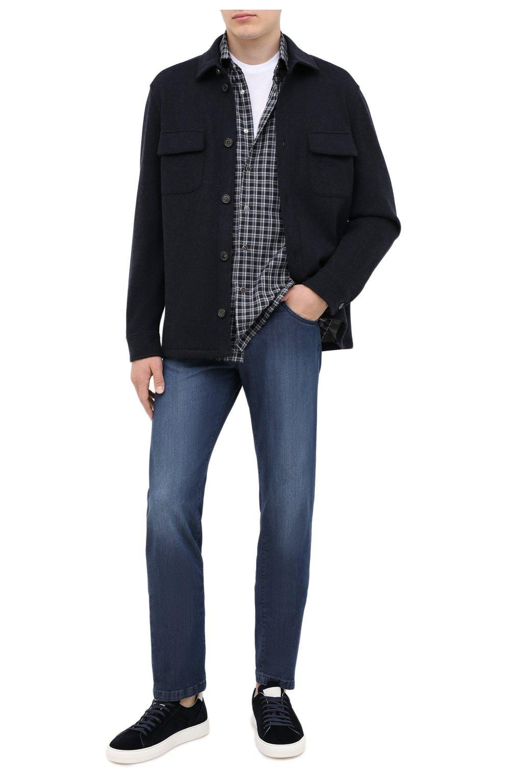 Мужская хлопковая рубашка KITON серого цвета, арт. UMCNERHH0747214 | Фото 2