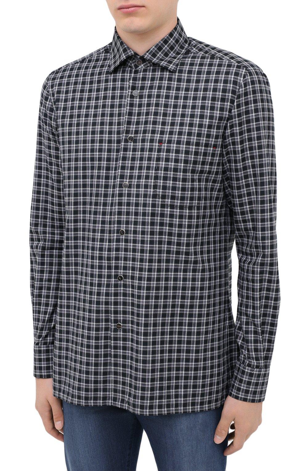 Мужская хлопковая рубашка KITON серого цвета, арт. UMCNERHH0747214 | Фото 3