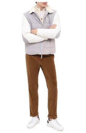 Мужской брюки из хлопка и кашемира KITON светло-коричневого цвета, арт. UFPLACJ02T46   Фото 2