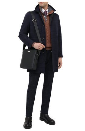 Мужская кожаная сумка KITON черного цвета, арт. UBMESSN00815   Фото 2