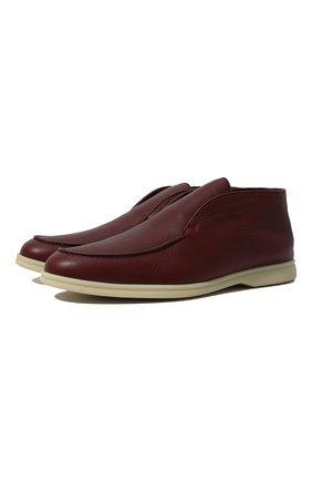 Мужские кожаные ботинки open walk LORO PIANA красного цвета, арт. FAI3276 | Фото 1