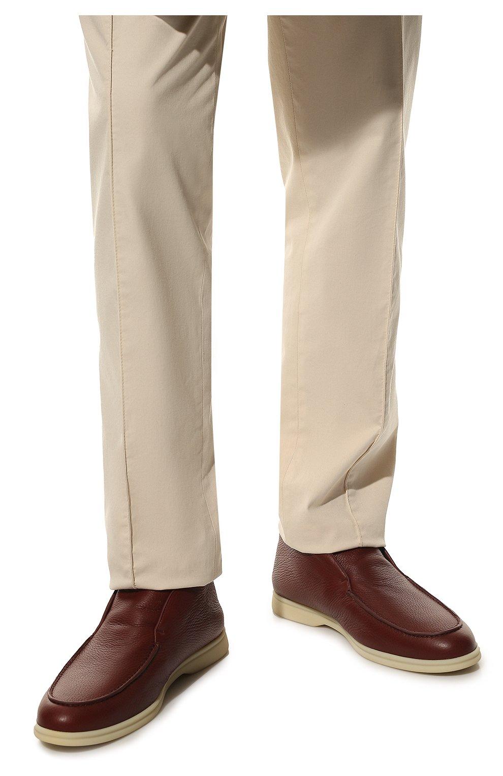 Мужские кожаные ботинки open walk LORO PIANA красного цвета, арт. FAI3276   Фото 3