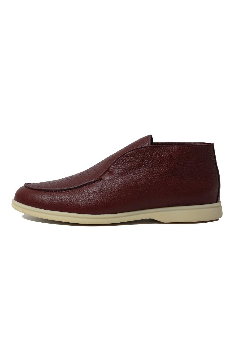 Мужские кожаные ботинки open walk LORO PIANA красного цвета, арт. FAI3276   Фото 4