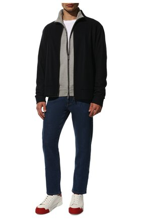 Мужские кожаные кеды portofino DOLCE & GABBANA красного цвета, арт. CS1802/AW113 | Фото 2 (Материал внутренний: Натуральная кожа; Подошва: Плоская)