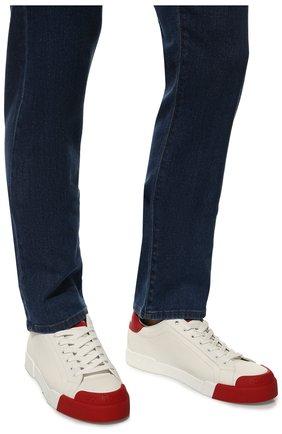 Мужские кожаные кеды portofino DOLCE & GABBANA красного цвета, арт. CS1802/AW113 | Фото 3 (Материал внутренний: Натуральная кожа; Подошва: Плоская)