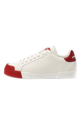Мужские кожаные кеды portofino DOLCE & GABBANA красного цвета, арт. CS1802/AW113 | Фото 4 (Материал внутренний: Натуральная кожа; Подошва: Плоская)