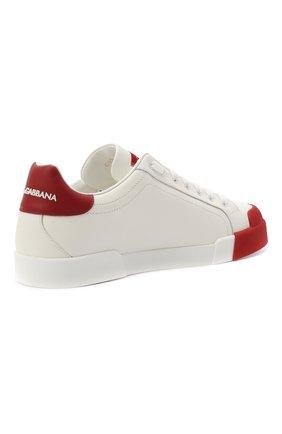 Мужские кожаные кеды portofino DOLCE & GABBANA красного цвета, арт. CS1802/AW113 | Фото 5 (Материал внутренний: Натуральная кожа; Подошва: Плоская)