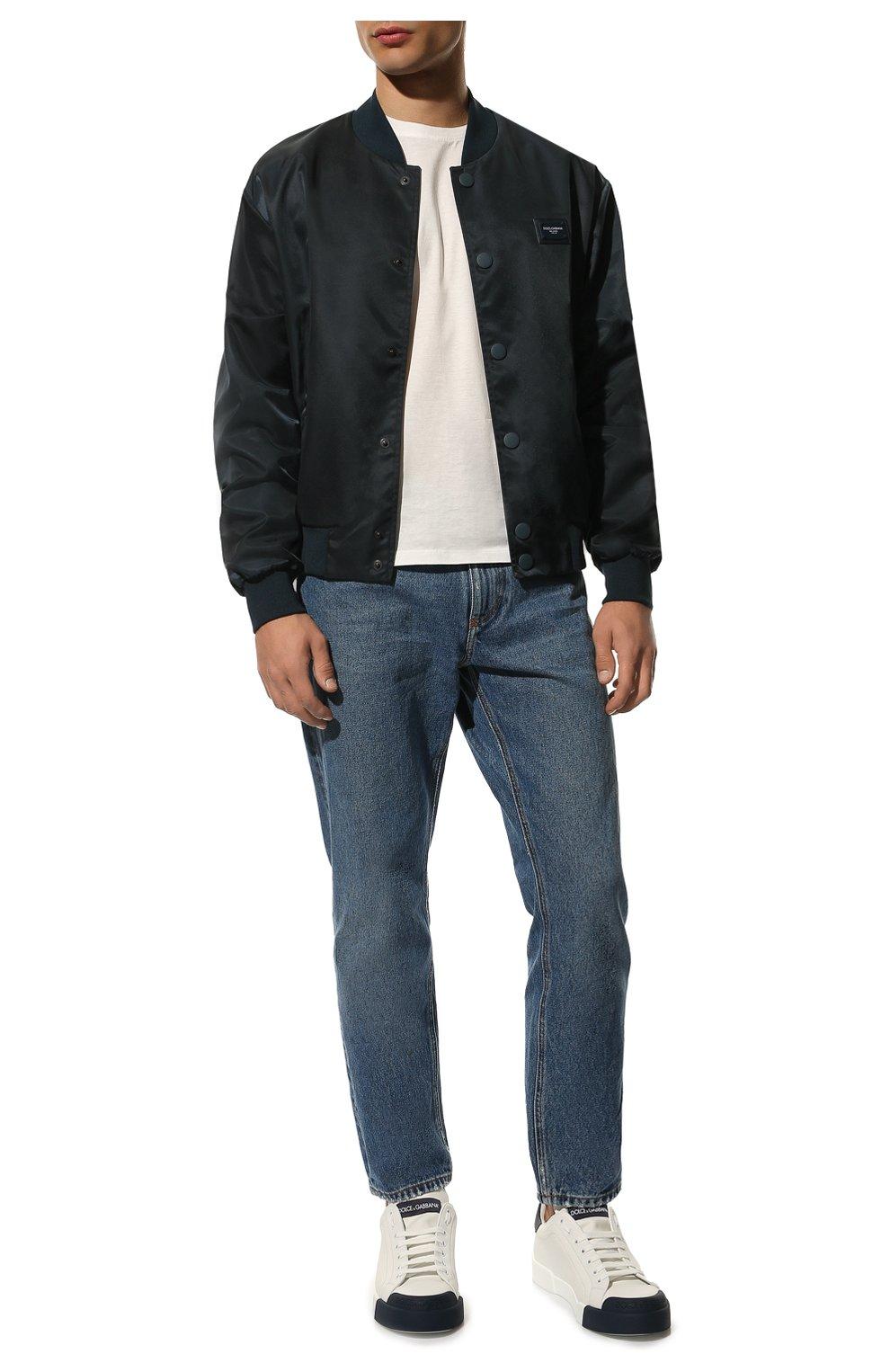 Мужские кожаные кеды portofino DOLCE & GABBANA темно-синего цвета, арт. CS1802/AW113   Фото 2 (Материал внутренний: Натуральная кожа; Подошва: Плоская)