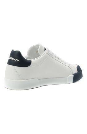 Мужские кожаные кеды portofino DOLCE & GABBANA темно-синего цвета, арт. CS1802/AW113   Фото 5 (Материал внутренний: Натуральная кожа; Подошва: Плоская)