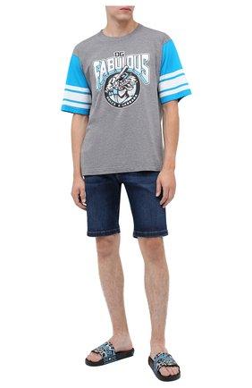 Мужские кожаные шлепанцы jungle sport DOLCE & GABBANA синего цвета, арт. CS1646/AX907 | Фото 2