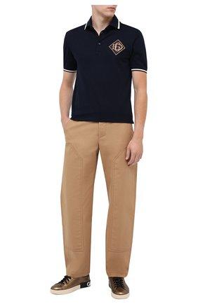 Мужские кожаные кеды portofino DOLCE & GABBANA золотого цвета, арт. CS1772/AW151 | Фото 2