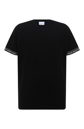 Мужская хлопковая футболка BURBERRY черного цвета, арт. 8026224 | Фото 1
