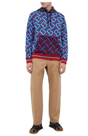 Мужской хлопковое худи BURBERRY разноцветного цвета, арт. 8029557 | Фото 2