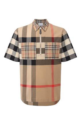 Мужская хлопковая рубашка BURBERRY бежевого цвета, арт. 8029757 | Фото 1