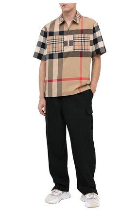 Мужская хлопковая рубашка BURBERRY бежевого цвета, арт. 8029757 | Фото 2