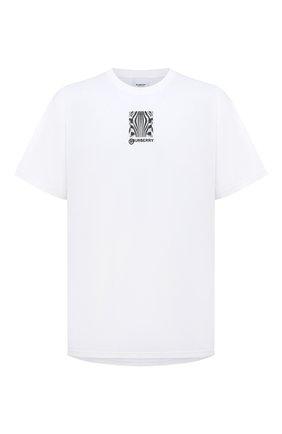 Мужская хлопковая футболка BURBERRY белого цвета, арт. 8030926 | Фото 1