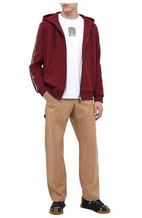 Мужская хлопковая толстовка BURBERRY бордового цвета, арт. 8031877 | Фото 2