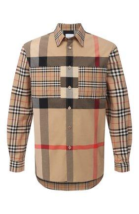 Мужская хлопковая рубашка BURBERRY бежевого цвета, арт. 8032268   Фото 1