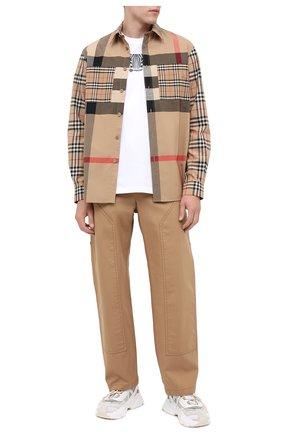 Мужская хлопковая рубашка BURBERRY бежевого цвета, арт. 8032268   Фото 2