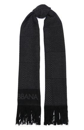 Мужской шерстяной шарф DOLCE & GABBANA серого цвета, арт. GQ270E/G2QAC | Фото 1