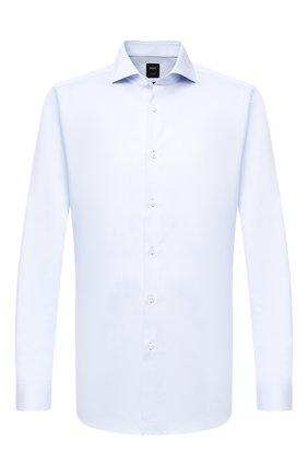 Мужская хлопковая сорочка BOSS голубого цвета, арт. 50440787 | Фото 1