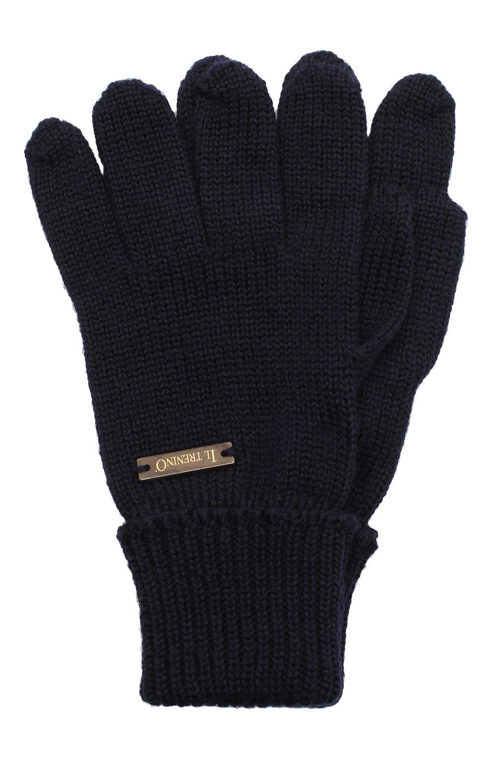 Детские шерстяные перчатки IL TRENINO темно-синего цвета, арт. 20 4055/E0 | Фото 1