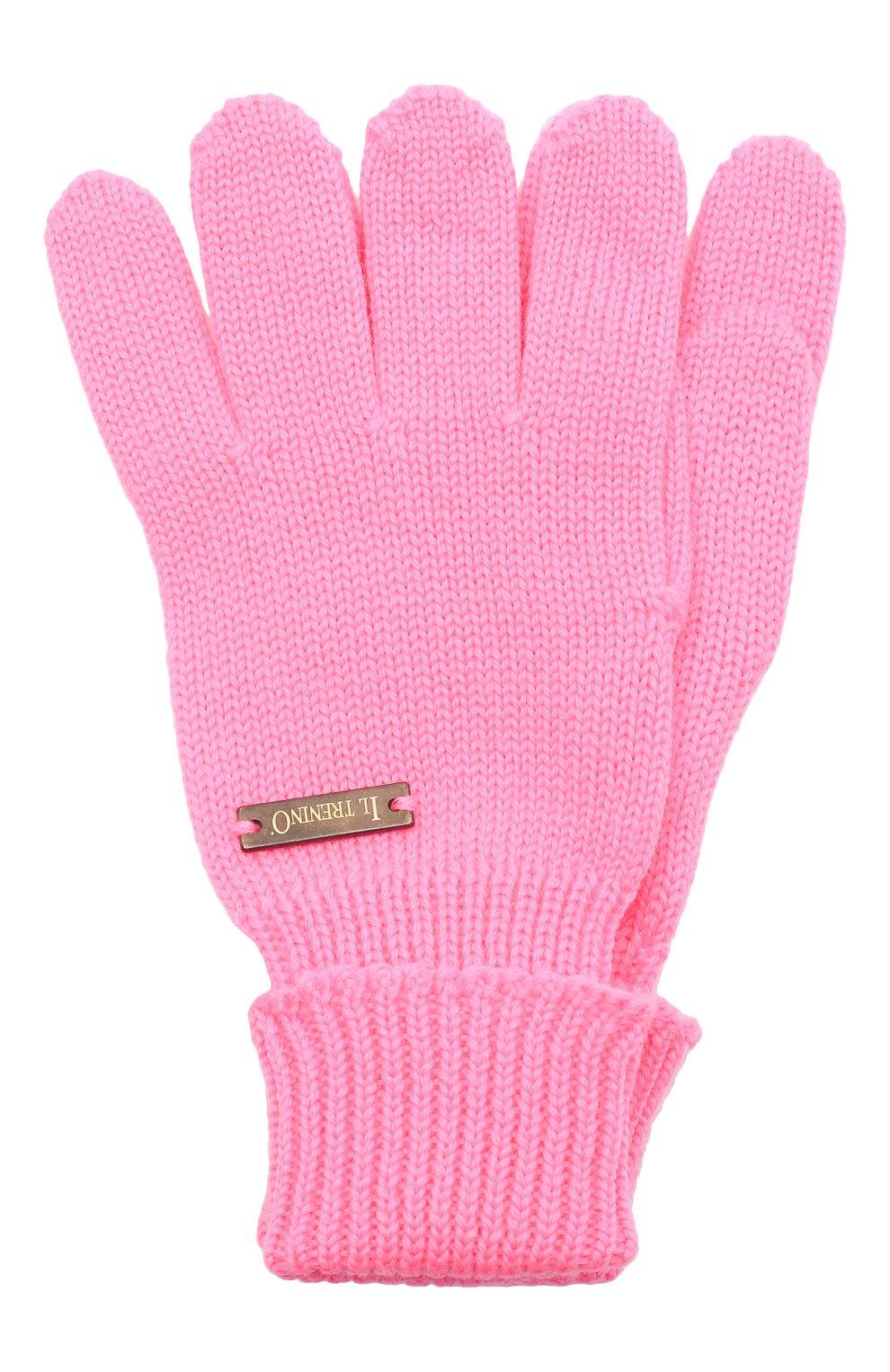 Детские шерстяные перчатки IL TRENINO розового цвета, арт. 20 4055/E0   Фото 1