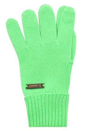 Детские шерстяные перчатки IL TRENINO салатового цвета, арт. 20 4055/E0 | Фото 1