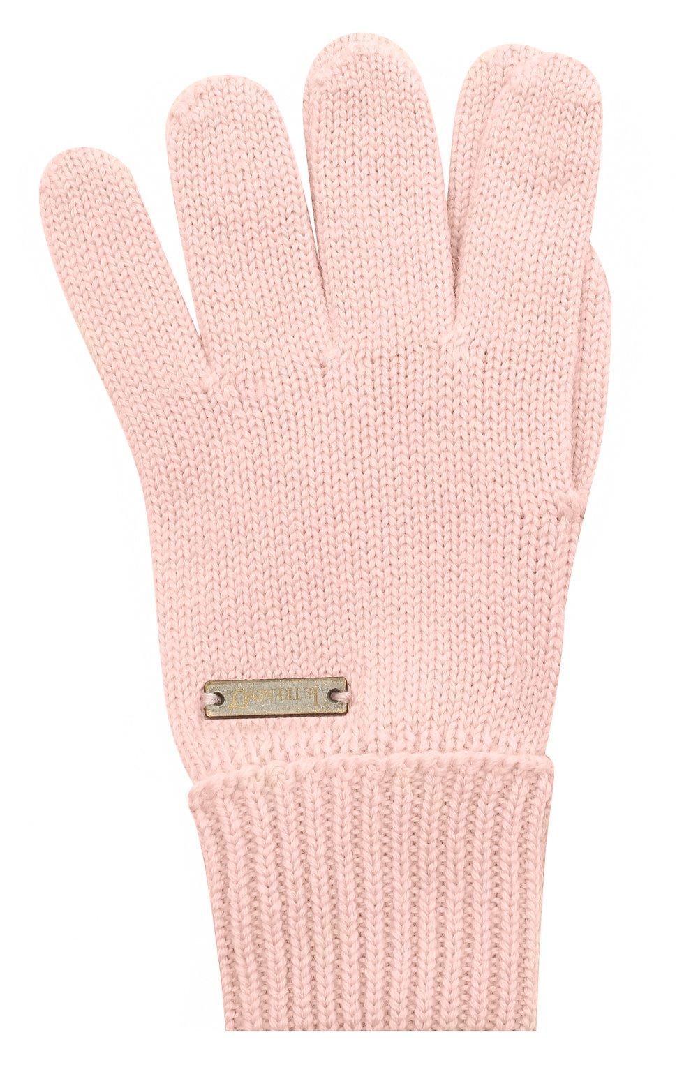 Детские шерстяные перчатки IL TRENINO розового цвета, арт. 20 4055/E0 | Фото 1