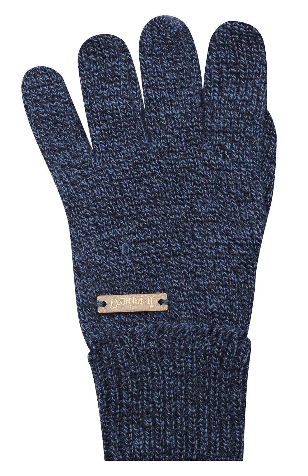 Детские шерстяные перчатки IL TRENINO синего цвета, арт. 20 4055/E0 | Фото 1